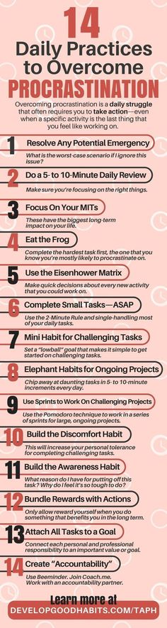 14 Daily Practices To Overcome Procrastination  positive inspiration infographic infographics self help
