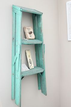 We have a small old ladder like this and it's too wobbly to use. Never thought to paint it shabby chic and hang it on the wall ... until now!! - Click image to find more Home Decor Pinterest pins