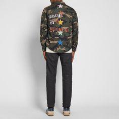 Valentino Jamie Reid Punk Star Military Shirt Jacket (Camo)   END.
