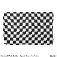 Black and White Outlined Squares Towels