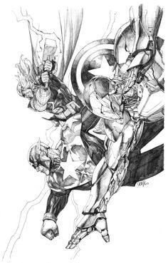 Drawing Marvel Comics Avengers Captain America, Iron Man and Thor by Leinil Francis Yu Comic Book Artists, Comic Book Characters, Marvel Characters, Comic Artist, Comic Books Art, Marvel Comics Art, Bd Comics, Marvel Heroes, Avengers Art