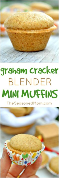 These Graham Cracker Blender Mini Muffins are a great make-ahead breakfast option to keep in the freezer, a sweet afternoon snack, and a fun addition to school lunch boxes! #ad