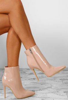 843ebaaf670 Easy Breezy Nude Patent Stiletto Heel Ankle Boots - UK 7