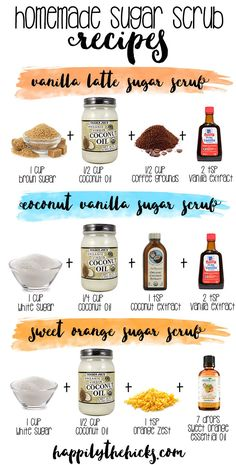 Sugar scrub is very helpful to your skin. It can make your skin moist and smooth. If you think the sugar scrubs in stores are expensive or may not be healthy, then you can consider homemade sugar scrubs. Homemade sugar scrub is not very difficult. Body Scrub Recipe, Diy Body Scrub, Sugar Scrub Recipe, Diy Scrub, Exfoliating Body Scrub Diy, Best Body Scrub, Natural Body Scrub, Coconut Oil Sugar Scrub, Lavender Sugar Scrub