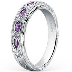"Kirk Kara 18k White Gold ""Dahlia"" Wedding Ring Featuring 0.09 Carats Diamonds and 0.35 Carats Marquise Cut Purple Amethysts"