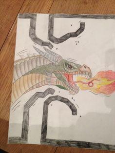 dit is hoe de draak ik geworden, hij komt op de jongen af en hij gaat dwars door de rand van het stripplaatje heen. maar die jongen geeft geen kik