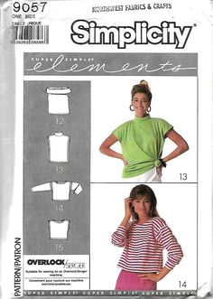 """Simplicity 9057 Super Simple Elements Stretch Knit Top Sewing Pattern, to 42"""" Bust, UNCUT by DawnsDesignBoutique on Etsy"""