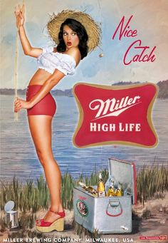 Old miller high life ad. Pinup Art, Pub Vintage, Vintage Pins, Vintage Beer Signs, Vintage Metal Signs, Retro Ads, Vintage Advertisements, Pin Up Girls, Old Poster