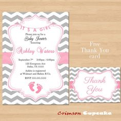 Printable Chevron Girl Pink Grey Baby Shower Invitation Its a girl Free Thank You Card on Etsy, $12.00