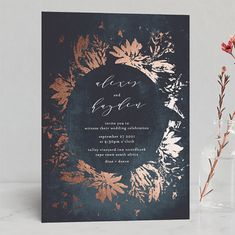 """multiple color options-- """"""""Pressed Flowers"""" - Modern Foil-pressed Wedding Invitations in Navy by Phrosne Ras. Spring Wedding Invitations, Foil Stamped Wedding Invitations, Wedding Invitation Wording, Wedding Stationery, Invites, Wedding Calligraphy, Plum Wedding, Wedding Book, Wedding Cards"""