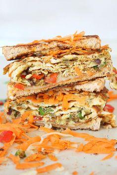 Indian Omelette Sandwich | FaveHealthyRecipes.com