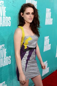 Kristen Stewart photographed on the red carpet at the 2012 MTV Movie Awards in Los Angeles.