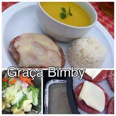 Bimby Truques & Dicas: Cozinhar em pirâmide 3 em 1 Creme de alface com hambúrguer com queijo e paiola e arroz basmati.