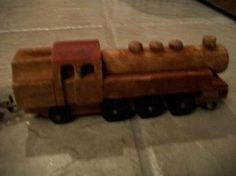 wooden train locomotive & 3 box cars vintage by ALEXLITTLETHINGS, $35.00