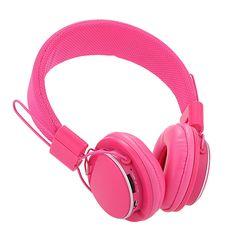 Casque Ecouteur Bluetooth 4.0 Sans Fil FM Radio TF Stéréo pour Téléphone PC Rose