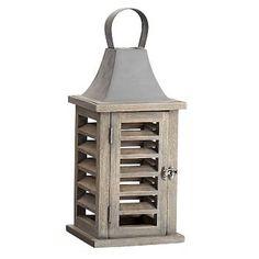 Shutter Mango Wood Lantern - Natural | Pottery Barn Outdoor Candles, Pillar Candles, Small Pillows, Decorative Pillows, Solar Lanterns, Living Room Remodel, Shutters, Candlesticks, Pottery Barn