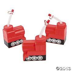 Molded Train Cups With Lid & Straw - Train Party $1.49