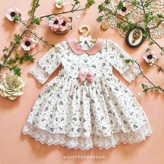Beautiful Smart Retro And Vintage Baby Girl Dress With Flowers Lace And Pink Bow On Waist Perfect Gift Baby / Toddler Fluffy And Festive - Baby Girl Dress - Ideas of Baby Girl Dress - Beautiful Smart Retro And Vintage Baby Girl Dress With Frocks For Girls, Kids Frocks, Dresses Kids Girl, Kids Outfits, Children Dress, Dress Girl, Newborn Baby Girl Dresses, Baby Girl Frocks, Children Clothes