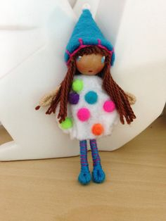 Waldorf Style Bendy Doll Confetti Happy Birthday Girl