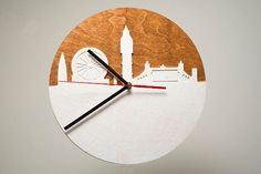 Nice crafted orginal wall clock inspired by skyline of London. We useing high quallity of birchwood and nicely painted in two colors. Fully functional, this wood clock is ready to hang in your home with minimal set up on your part. | eBay!
