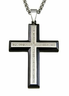 Stainless Steel CHOC IP//BLK IP Religious Pendant Ball Chain 22