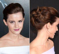 Frisuren Bilder: Star-Frisuren: Zu ihrem schlichten, weißen Kleid trägt Emma Watson die Haare lässig hochgesteckt. Das leicht toupierte Deckhaar und Volumen ...