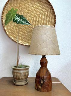 Beautiful turned wood vintage table lamp by EarthshipVintage