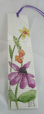 watercolor bookmark, again draw outine and get kids to water paint, colour, paste...then contact carefully for grandma for mothers day!!