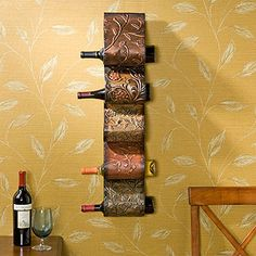 vintage wall-mount wine rack...hope it doesn't fall!