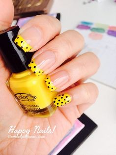 Yellow dots French tips - aka Happy Nails ^^ #nails #nailart #nudepolish - bellashoot.com