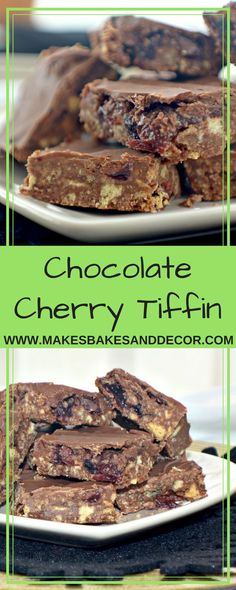 An easy no bake recipe for chocolate cherry tiffin. A delicious British tea time treat using biscuits, chocolate and cherries halloween baking recipes Tray Bake Recipes, Easy Baking Recipes, Cake Recipes, Dessert Recipes, Dessert Bars, Vegan Recipes, Fridge Cake, Tiffin Recipe, Chocolate Cherry
