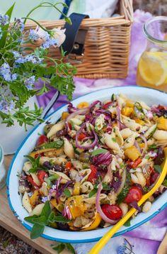 Antipasto Pasta Salad - Simple Bites #Picnic Summer Dishes, Summer Salads, Summer Food, Grilled Vegetables, Veggies, Antipasto Pasta Salads, Big Salad, Salad Bar, Different Salads