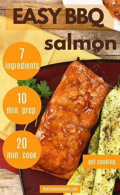 Quick & Easy Grilled Salmon with BBQ Sauce Recipe. Healthy fish recipe that's ready in under 30 minutes! Seared Salmon Recipes, Salmon Salad Recipes, Healthy Salmon Recipes, Pan Seared Salmon, Grilled Salmon, Bacon Recipes, Grilling Recipes, Sauce Recipes, Cooking Recipes