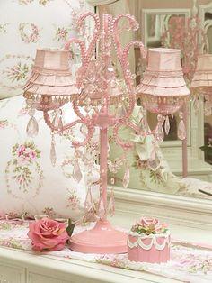 Pretty pink chandelier lamp!