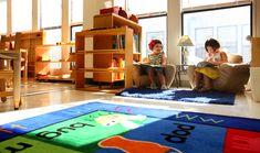 A Montessori classroom (love the reading area!)