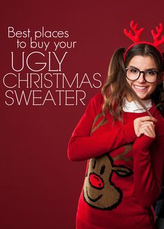 Best websites for ugly Christmas sweaters! Pinning this!