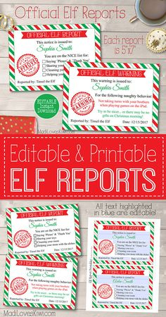 Printable Elf on the Shelf Report Card and Naughty Warnings , Naughty Or Nice List, Naughty Kids, Elf Letters, Santa Letter, Letter To Santa Template, Kids Christmas, Christmas Crafts, Xmas, Christmas Stuff