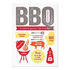 Backyard Summer BBQ Barbecue 50th Milestone Birthday Party Custom Invitation by fatfatin