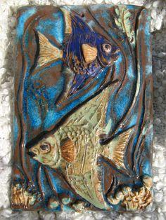 WALL TILE WANDPLATTE 60s MID CENTURY FISH FISCHE MAJOLIKA KRISTALLGLASUR WGP