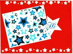 Red White and Blue Hi greeting card FREE by 12StepUnityGal on Etsy, $5.00