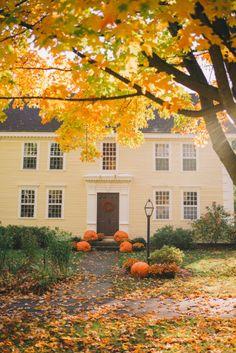 22 Beautiful Fall Garden Decoration You Must Have Autumn Garden, Autumn Home, New England Fall, New England Homes, Yellow Houses, Autumn Scenery, Fall Halloween, Halloween Crafts, Fall Season