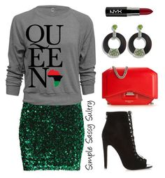 """""""Queen"""" by simplesassysultry on Polyvore featuring H&M, Hissia, Givenchy, River Island and NYX"""