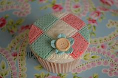 Patchwork Cupcake with a Button Flower