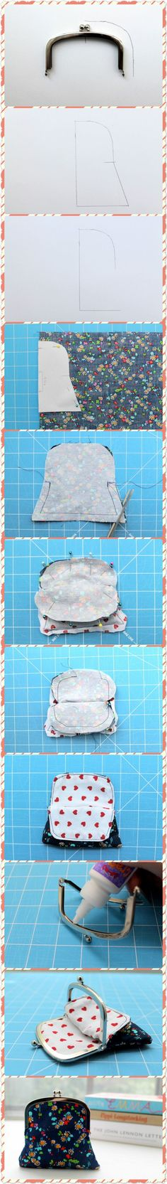 How much fabric for a coin purse Sewing Hacks, Sewing Tutorials, Sewing Crafts, Sewing Projects, Purse Patterns, Sewing Patterns, Diy Coin Purse, Diy Accessoires, Frame Purse