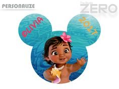 Baby Moana Clipart, Personalize, Mickey Head, Moana Iron On Transfer or Use as Clip Art, DIY Disney