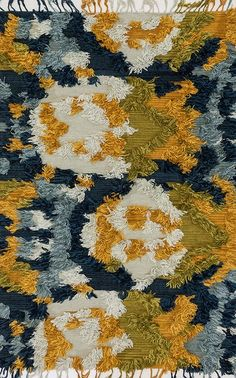 Loloi Fable Marine/Gold Area Rug-Known for her colorful bohemian style, designer Justina Blakeney's hand-woven Fable Collection from India is an imaginative spin on the regular flat weave rug. Justina Blakeney, Yellow Rug, Cool Tones, Modern Rugs, Woven Rug, Rugs In Living Room, Vintage Art, Hand Weaving, Area Rugs