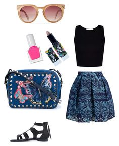 """""""Butterfly"""" by littlestyledoll ❤ liked on Polyvore featuring Valentino, Maje, Lime Crime, tenoverten, Summer, Blue, skirts, butterfly and summerfashion"""