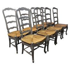 A Set Of 8 Country French Rush Seat Ladderback Grey Dining Chairs. The  Chairs Are