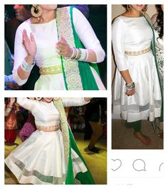 White with green lengha