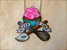 tattoo style cupcake and baking tools necklace bright hot pink and aqua diy chef spatula whisk tattoo